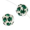 Rhinestone Bead 12mm Round Silver/Emerald